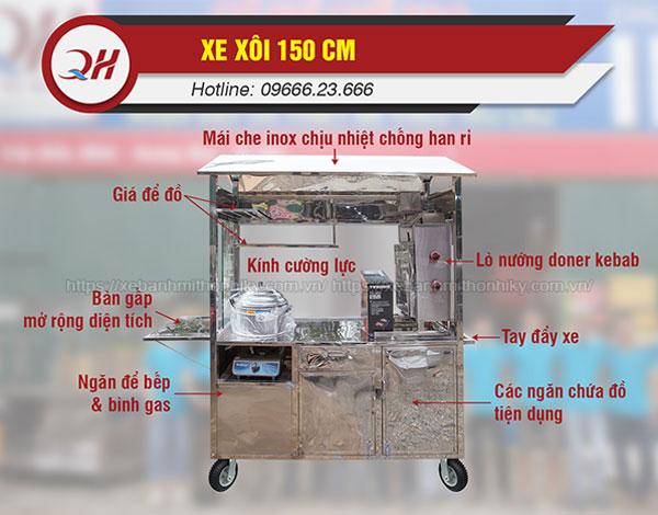 Cấu tạo chi tiết xe xôi bánh mì 1m5 Quang Huy