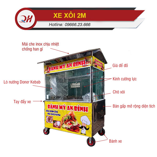 Cấu tạo chi tiết xe xôi 2m Quang Huy