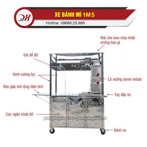 Cấu tạo xe bánh mì inox Doner Kebab 1m5 Quang Huy