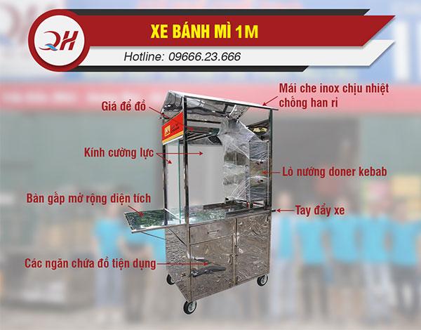 Cấu tạo xe bánh mì 1m Quang Huy