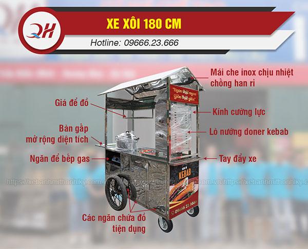 Cấu tạo xe đẩy xôi 1m8 Quang Huy
