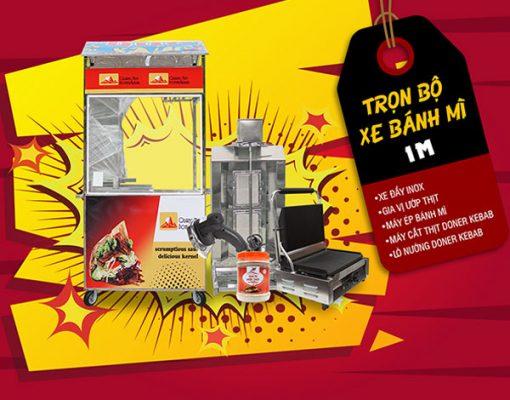 Trọn bộ xe bán bánh mì inox 1m Quang Huy