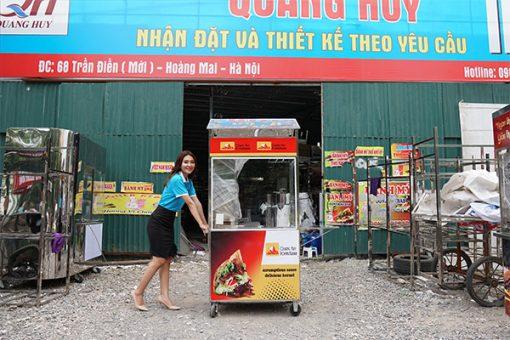 Xe bán bánh mì inox 1m Quang Huy