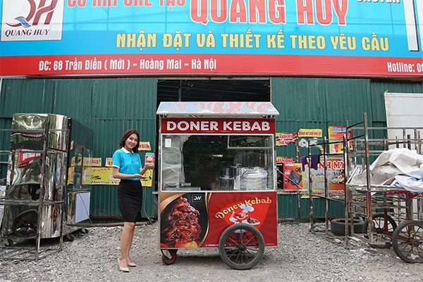 Xe đẩy xôi 1m8 bán bánh mì Quang Huy