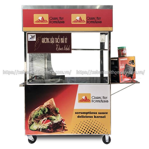 Mẫu xe đẩy bánh mì Doner Kebab Quang Huy, Inox 304 không gỉ