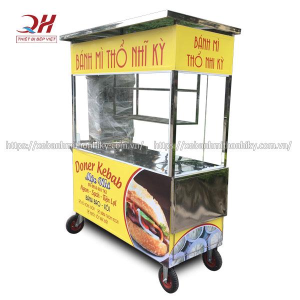 Xe bán bánh mì Doner Quang Huy bền bỉ, chất liệu Inox 304