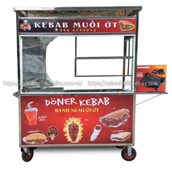 Xe đẩy bán bánh mì Kebab kèm lò nướng thịt tích hợp