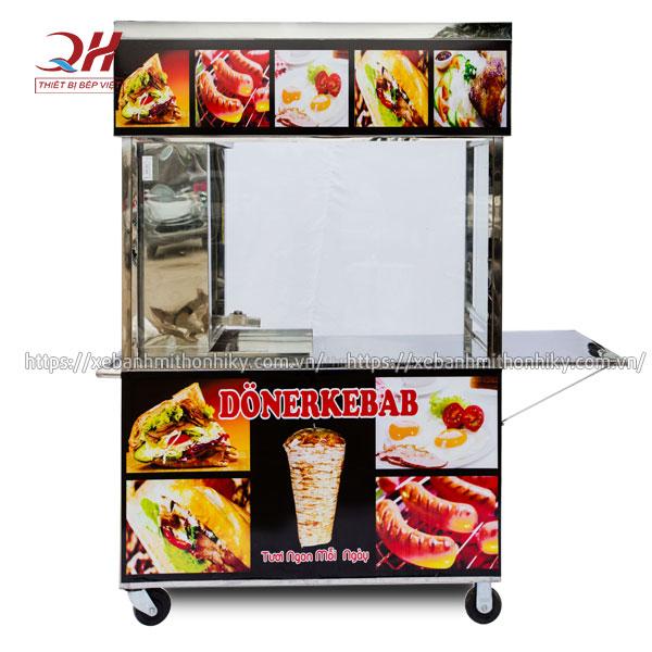 Tủ xe đẩy bánh mì Doner Kebab + lò nướng thịt tiện lợi