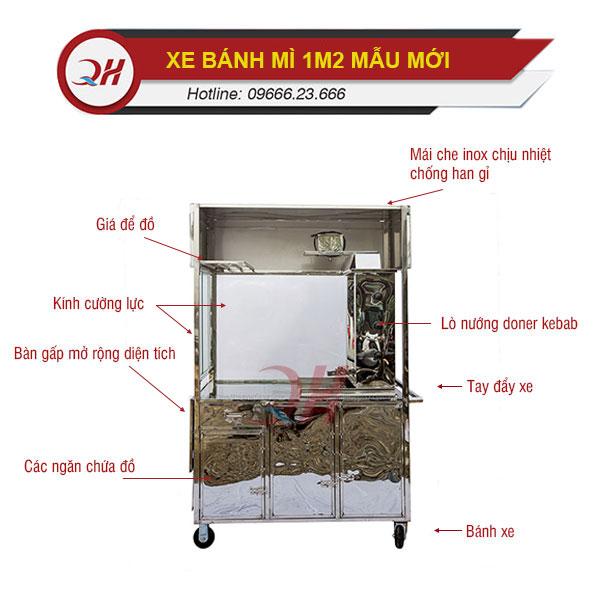 Cấu tạo chi tiết xe bánh mì Quang Huy 1m2 mẫu mới