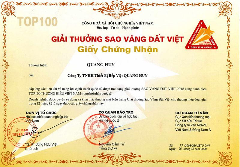 Giấy chứng nhận chất lượng sản phẩm bếp việt Quang Huy