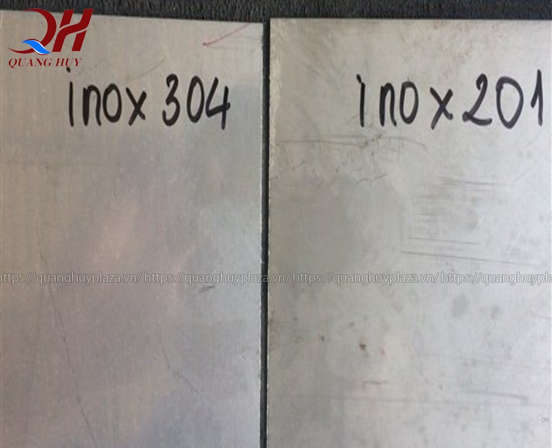 Hình ảnh so sánh giữa hai loại inox