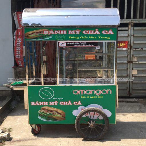 Mẫu xe bánh mì chả cá 1m5 Quang Huy