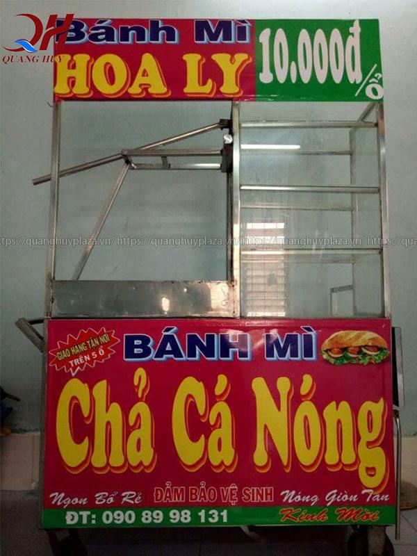 Xe bánh mì chả cá nóng Quang Huy giá rẻ