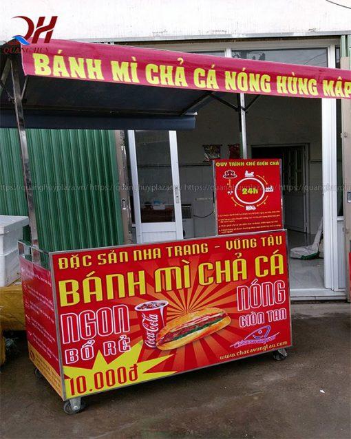 Xe bánh mì chả cá inox Quang Huy