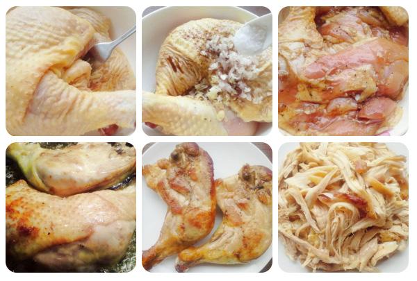 Chế biến thịt gà xôi gà xé cay