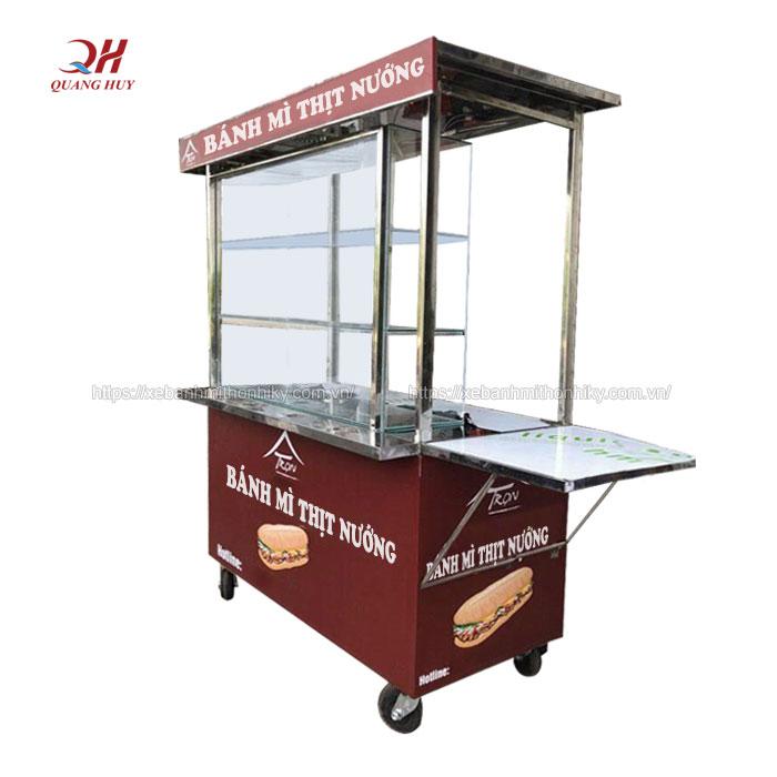 Xe bánh mì thịt nướng Inox Quang Huy