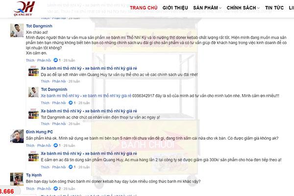 Đánh giá xe bán bánh mì Quang Huy trên website