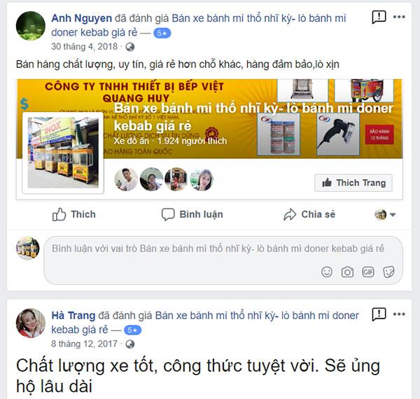 Đánh giá xe bánh mì Quang Huy trên facebook