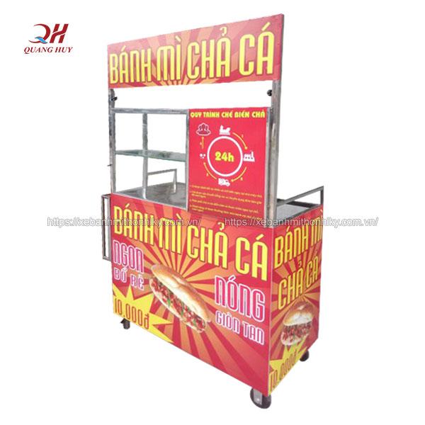Xe bánh mì chả cá Quang Huy inox 304