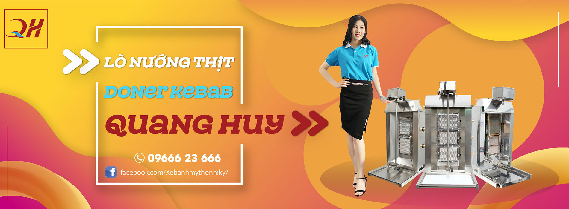 Banner xe inox bán bánh mì giá rẻ Quang Huy