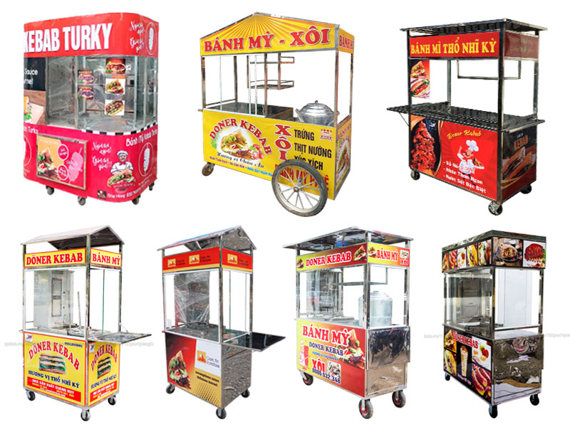 Một số mẫu xe đẩy bán bánh mì đẹp giá rẻ do Quang Huy phân phối