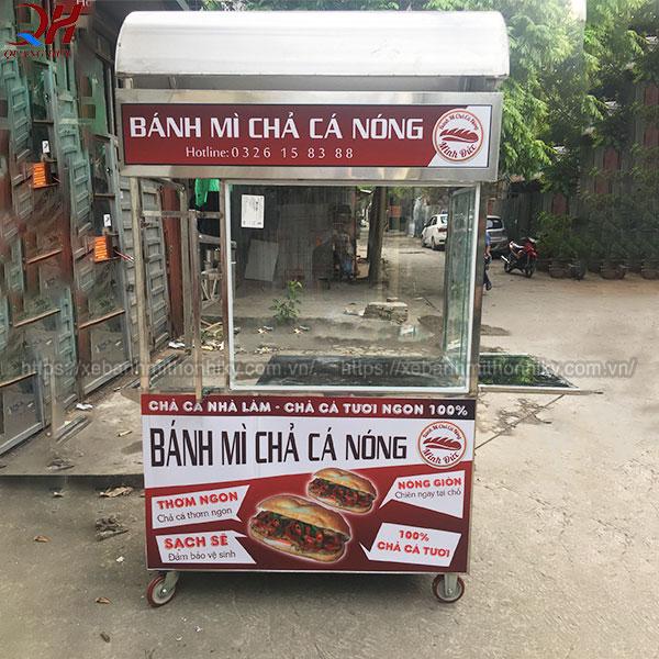 Xe bánh mì chả cá Quang Huy inox 304 không gỉ