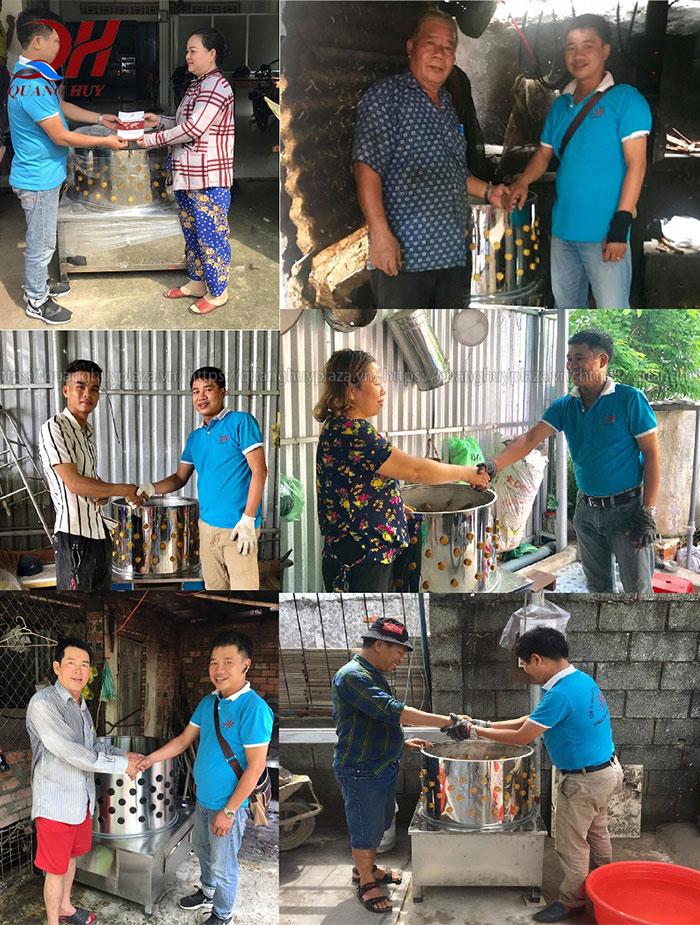 Khách hàng mua máy nhổ lông gà lông vịt Quang Huy