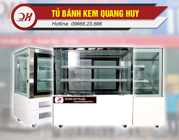 Tủ bánh kem 3 tầng 1m2 Quang Huy kính vuông