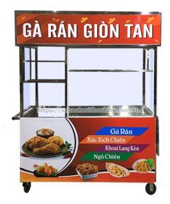 Mẫu xe đẩy bán gà rán Inox Quang Huy