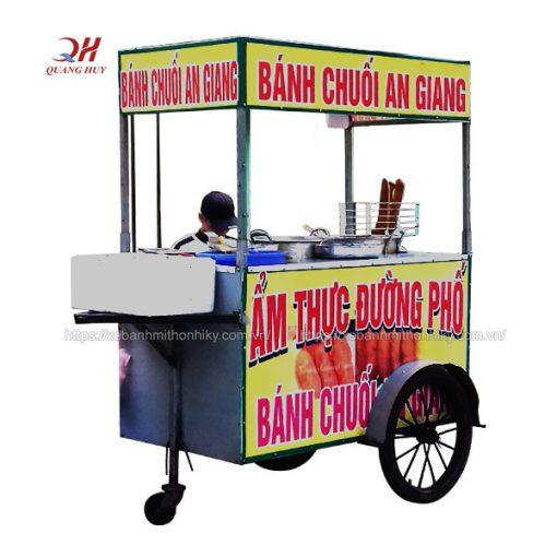 Xe bán bánh chuối inox Quang Huy