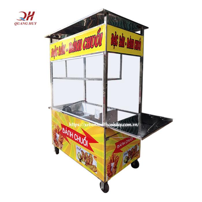 Xe bán bánh chuối chiên chất liệu inox 304 độ bền cao
