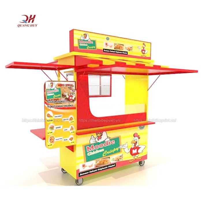 Xe bán gà chiên rán inox Quang Huy