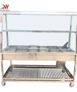 Khung tủ kính bán cơm inox 304 chắc chắn