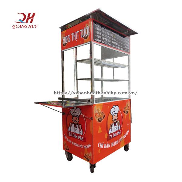 Mẫu xe bán bánh mì inox mini Quang Huy
