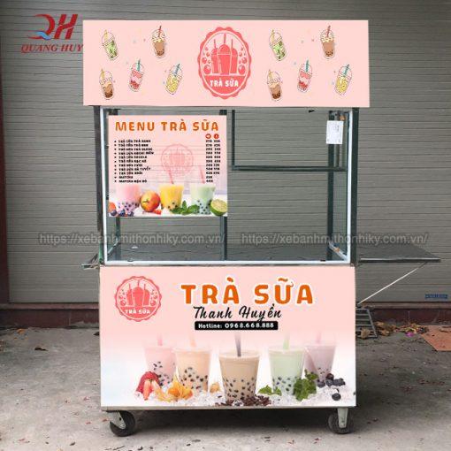 Mẫu xe bán trà sữa đẹp, chất liệu bền, thiết kế decal xe theo yêu cầu