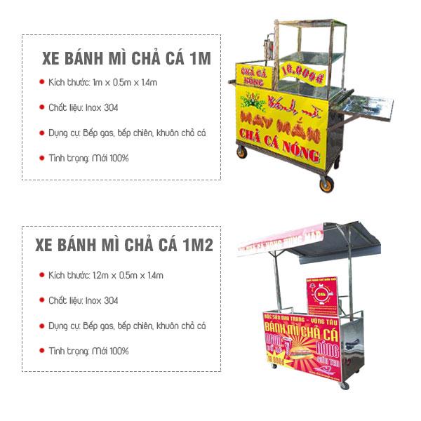 Xe bánh mì chả cá mini 1m, 1m2 Quang Huy