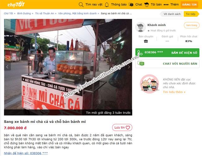 Xe bán chả cá được rao bán trên chợ Tốt