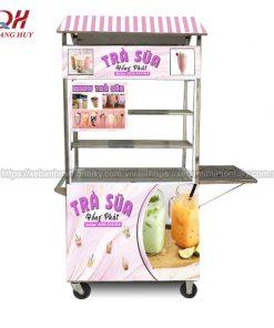 Xe đẩy bán trà sữa độ bền cao, inox 304 chắc chắn