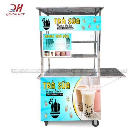 Xe đẩy bán trà sữa lưu động, đặt tại quầy hàng, cửa tiệm