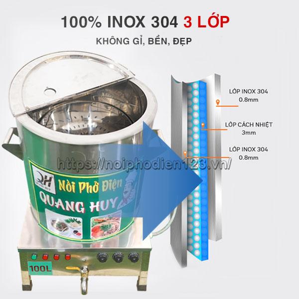 Chất liệu inox 304 không gỉ, bền, tuổi thọ cao