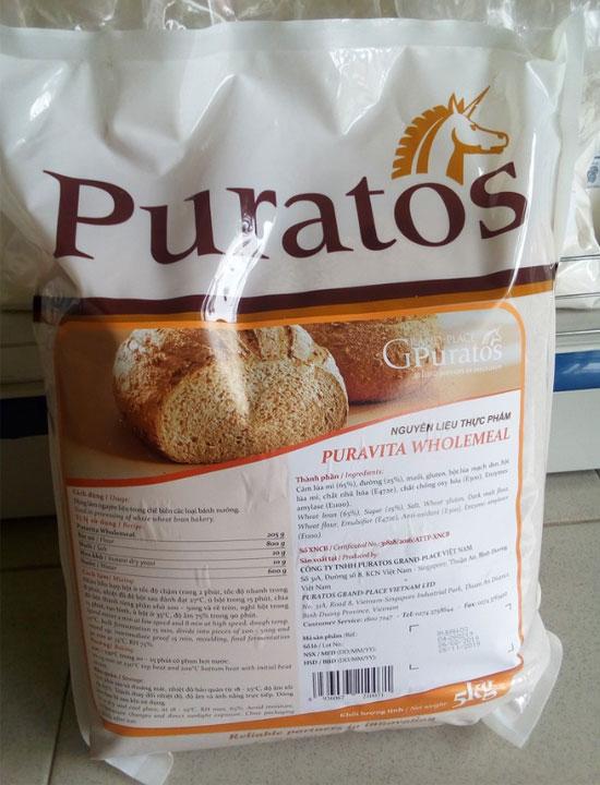Bột mì nguyên cám Puratos 5kg là nguyên liệu không thể thiếu khi làm bánh mì nguyên cám