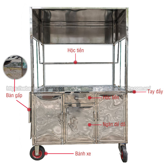 Cấu tạo bộ phận khung xe đẩy inox bán chè, đồ ăn vặt, bán hoa quả