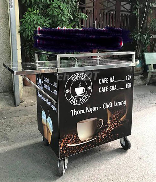 Thiết kế xe đẩy cafe cũ khá đơn giản
