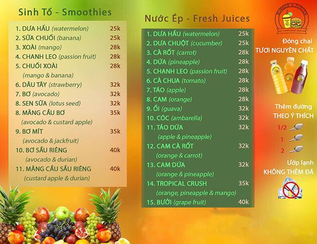 Xây dựng menu nước ép trái cây để kinh doanh