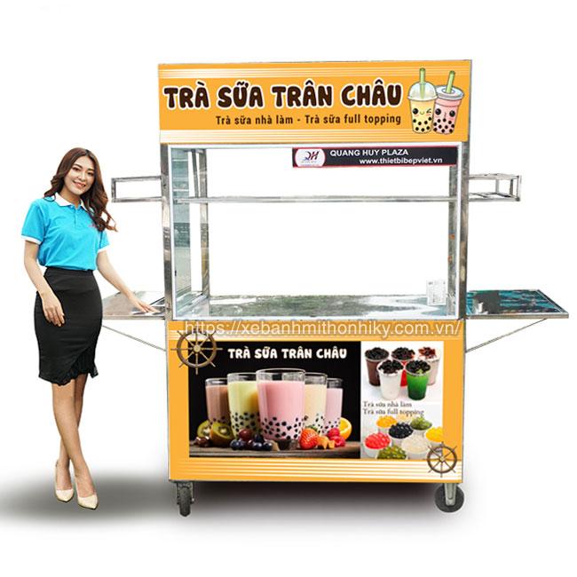 Xe bán trà sữa bằng Inox 304 sản xuất tại Quang Huy