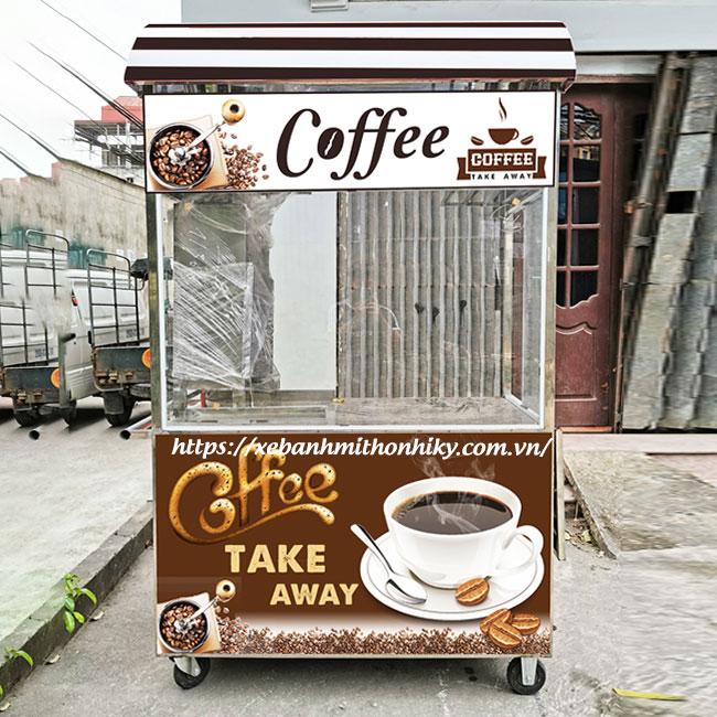 Xe đẩy bán cafe take way mái cong nổi bật