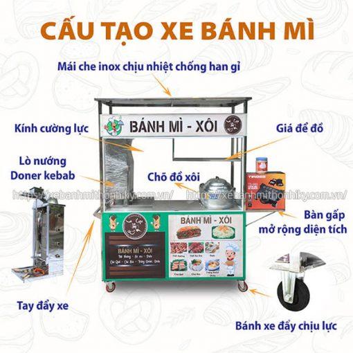 Thiết kế xe đẩy xôi bánh mì xá xíu Inox 304 Quang Huy