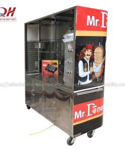 Khung xe đẩy bánh mì Kebab Torki kính cong Inox 304 không hoen gỉ