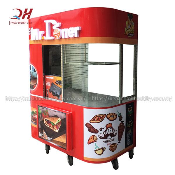 Mẫu xe bánh mì Kebab Torki kính cong X2 Quang Huy