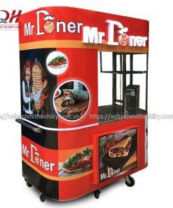 Tủ xe đẩy bánh mì Kebab Torki kính cong sản xuất tại xưởng cơ khí Quang Huy
